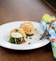 JENNIFER SILVERBERG - Fried Green Tomato Benny - poached egg, arugula, chipotle hollandaise