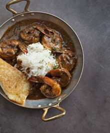 JENNIFER SILVERBERG - Shrimp New Orleans in a Creole sauce with basmati rice.