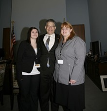 COURTESY TAMMY AABERG - The suicide of Tammy Aaberg's (right) son Justin inspired U.S. Senator Al Franken (center) to pen the federal Student Non-Discrimination Act.