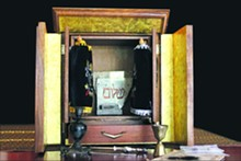 "The ""real"" dybbuk box — shown here inside its protective ark — is kept in a secret location somewhere in northeast Missouri."
