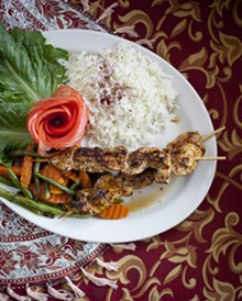 JENNIFER SILVERBERG - Chicken Shish Kabab - grilled chicken breast marinated in garlic, lemon juice and a spice blend served on a skewer with basmati rice and seasonal fresh vegetables.