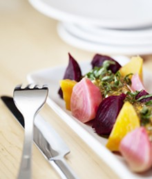 JENNIFER SILVERBERG - Roasted Beets salad. Goat cheese mousse, basil, pistachio.