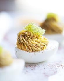 JENNIFER SILVERBERG - Ham Hock Deviloled Farm Eggs - Wasabi caviar, pickled vegetables