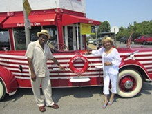 "SUZY RUST - ""Red Bone"" Lytle with his lady, Diane, and the Budweiser Cruiser"