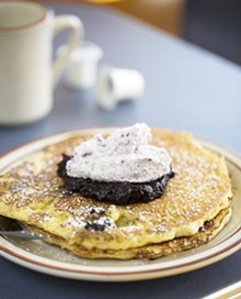 JENNIFER SILVERBERG - A currrent special, triple blueberry pancakes, takes their regular Buttermilk Cornmeal Pancakes and adds blueberries to the batter. Topped with both blueberry compote and blueberry whipped cream. See more photos of Southwest Diner here