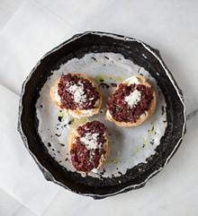 JENNIFER SILVERBERG - At Olio - Bruschetta with fresh ricotta, braised beet stems, pecorino sardo. Slideshow: Photos from Inside Elaia and Olio