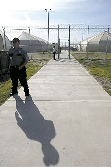 DELCIA LOPEZ/SAN ANTONIO EXPRESS-NEWS/ZUMAPRESS.COM - The immigrant detention centers at Raymondville, Texas. Karla was in a similar facility in nearby Port Isabel.
