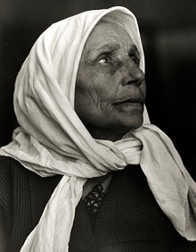Lewis Wickes Hine, (American, 1874 – 1940), Jewish Grandmother, Ellis Island, 1926 gelatin silver print, 13 3/8 x 10 3/8 inches; printed c. 1935, courtesy of the Howard Greenberg Gallery, New York