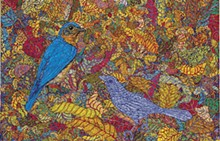 KATHARINE KUHARIC - Blue-bird, 2015. Oil on linen, 16 x 12 inches.