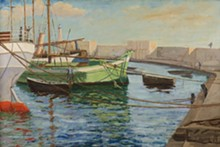 """Sir Winston Churchill, Boats at Cannes Harbor, 1937. Oil on canvas, 24 x 30"""". National Churchill Museum at Westminster College, Fulton, Missouri. © Churchill Heritage Ltd."""
