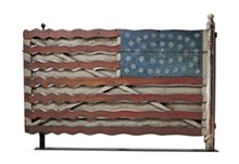 PHOTO BY JOHN PARNELL, NEW YORK - Flag Gate, Jefferson County, New York c. 1876; artist unidentified; paint on wood with iron and brass; 39 1/2 x 57 x 3 ¾ inches; Collection American Folk Art Museum, New York, Gift of Herbert Waide Hemphill Jr. in honor of Neal A. Prince, 1962.1.1