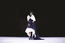 Nasheli Juliana, 2016, organic cotton, polyester, size: small; Shoes: Carolin Hozhuber; Mask: Cecilio Designs Accessories, Alina Alamorean; Photo by Benas Baranauskas; Model: Lily Gatins