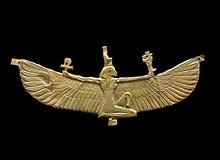 Winged Isis pectoral; Nubian, Napatan Period, reign of Amaninatakelebte, 538–519 BC; gold; 2 11/16 x 6 11/16 inches; Museum of Fine Arts, Boston. Harvard University—Boston Museum of Fine Arts Expedition  20.276; Photograph © Museum of Fine Arts, Boston - Uploaded by cameron.wulfert