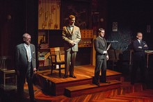ERIC WOOLSEY - Clarence Darrow (John Flack), Loeb (Pete Winfrey), Leopold (Jack Zanger) and Robert Crowe (Eric Dean White) in Never the Sinner.