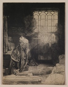 Rembrandt van Rijn, Dutch, 1606–1669; Faust (The Scholar in His Study), c.1652; etching, drypoint, and engraving on oatmeal paper; image: 8 1/4 × 6 5/16 inches; Mark S. Weil Artwork 2011 Irrevocable Trust, Promised gift of Phoebe Dent Weil and Mark S. Weil 2016.85