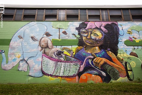 2012 mural by Cern on the back of the Avenue D recreation center. - FILE PHOTO