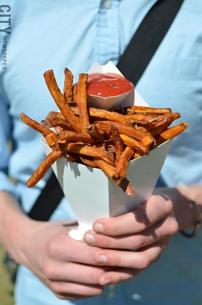 A cone of sweet potato fries. - PHOTO BY MATT DETURCK