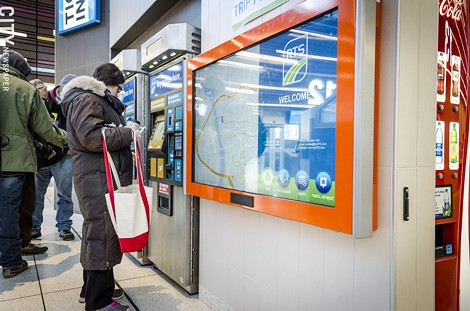 A touch screen lets passengers plan their routes. - PHOTO BY MARK CHAMBERLIN
