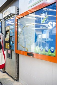 A touch screen lets passengers plan their routes.