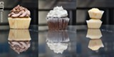 PHOTO BY MARK CHAMBERLIN - A vanilla cupcake with chocolate frosting (left), vegan chocolate cupcake with white frosting (middle), and mini vanilla cupcakes (right) from Get Caked in Village Gate.