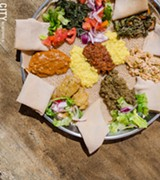 PHOTO BY MARK CHAMBERLIN - A vegetarian combination platter from Zemeta Ethiopian Restaurant.