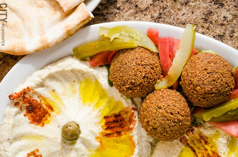 A vegetarian combo platter from Sultan Lebanese Restaurant & Bakery. - PHOTO BY MARK CHAMBERLIN