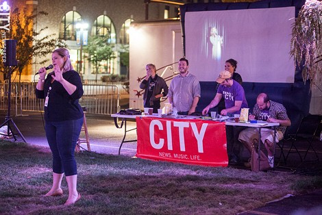 Anna Hall (left) hosted TriviaCITY, an arts and cultural quiz, produced by CITY Newspaper. - PHOTO BY JOHN SCHLIA