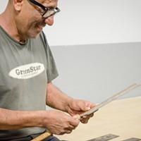 [ Slideshow ] Makerspace Antonio Cruz Cavaleta with a Japanese wood knife. PHOTO BY MARK CHAMBERLIN