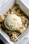 Apple crisp with caramel-rosemary ice cream.