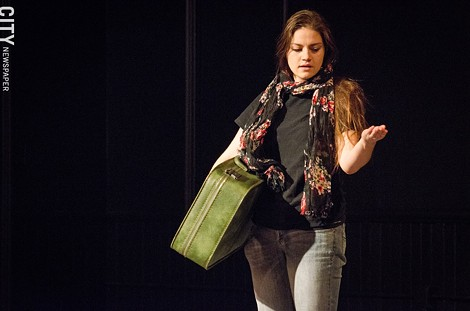 """Ashley Malloy in """"My Name is Rachel Corrie"""" - PHOTO BY MARK CHAMBERLIN"""