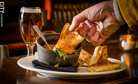 At Victoire: a Belgian beer with assorted Belgian grilled-cheese sandwiches, served with tomato-basil soup. - PHOTO BY MARK CHAMBERLIN