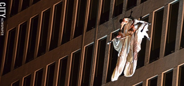 Bandaloop's performance on the side of One HSBC Plaza, Thursday night.