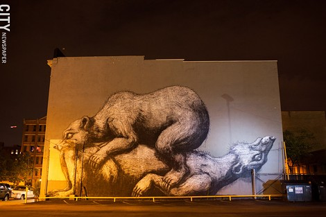Bears by Belgian artist, ROA, in St. Paul neighborhood. - FILE PHOTO