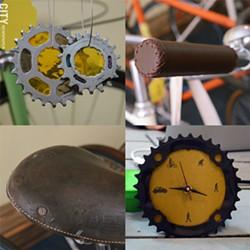 Bike art, materials, and equipment details inside Yellow Haus Bicycles. - PHOTO BY LARISSA COE