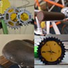 Bike art, materials, and equipment details inside Yellow Haus Bicycles.