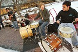 PHOTO BY STEVE PIPER - Braving the cold for the backbeat: Michael Chiavaro, Ian Fry, and Break of Realitys Ivan Trevino.