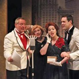 "Brian Doran, Linda Loy, Mary Tiballi, and Jake Purcell (pictured, left to right) in ""It's A Wonderful Life: A Live Radio Play."" PHOTO BY DAN HOWELL"