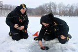 Brothers Jeff and Tim Thomas (left to right) fish at Mendon Ponds Park. - PHOTO BY KATHY LALUK