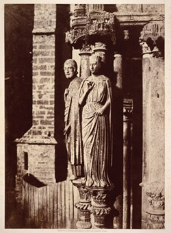 """Charles Marville, """"Chartres Cathedral, large pilaster figures on the Northern portal"""""""
