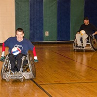 Quad Rugby Chris Hilderbrant (left) is a co-founder of the Wreckers. PHOTO BY MARK CHAMBERLIN