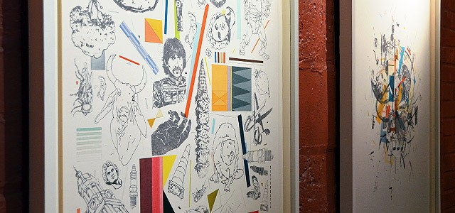 Collaborative work by St. Monci and Justyn Iannucci hanging in the Little Theatre Cafe.