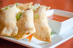 Crab rangoons. - PHOTO BY MARK CHAMBERLIN