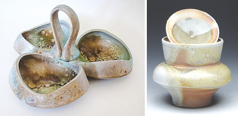 """Didem Mert's """"Sauce Tray"""" (left) and Patrick Bell's """"Wood Fired Jar"""" (right) are part of the current ceramics showcase at the Firehoues Gallery. - PHOTOS PROVIDED"""