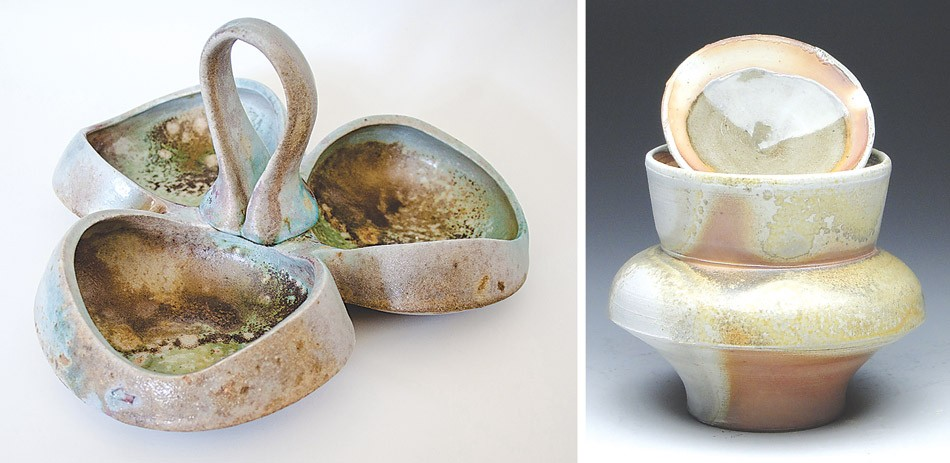 "Didem Mert's ""Sauce Tray"" (left) and Patrick Bell's ""Wood Fired Jar"" (right) are part of the current ceramics showcase at the Firehoues Gallery. - PHOTOS PROVIDED"