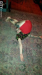 PHOTO BY FRANK DE BLASE - Evie Delilah warms up at Abilene Bar & Lounge.