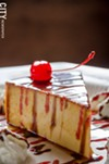 Flan with cherry and chocolate at La Casa Restaurant in the South Wedge.