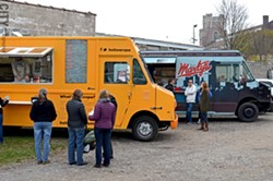 Food trucks like Hello Arepa and Marty's Meats occasionally set up shop at the Object Maker's Lot near the Public Market. - PHOTO BY MATT DETURCK