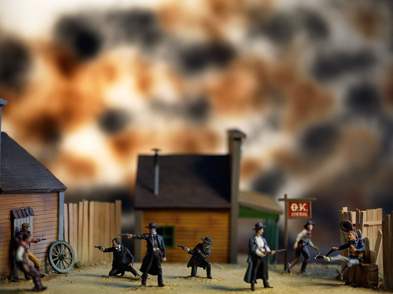 """Gunfight at the O.K. Corral"" is one of many images in ""History: Photographs by David Levinthal,"" currently on view at George Eastman House. - PHOTO PROVIDED"