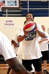 Hopeful JabaraMcKinstry     passes during tryouts for the RazorSharks.
