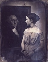 "COURTESY OF THE METROPOLITAN MUSEUM OF ART - I'm looking at her, she's looking at - him: ""Young Girl with Portrait of George Washington ca. 1850."""